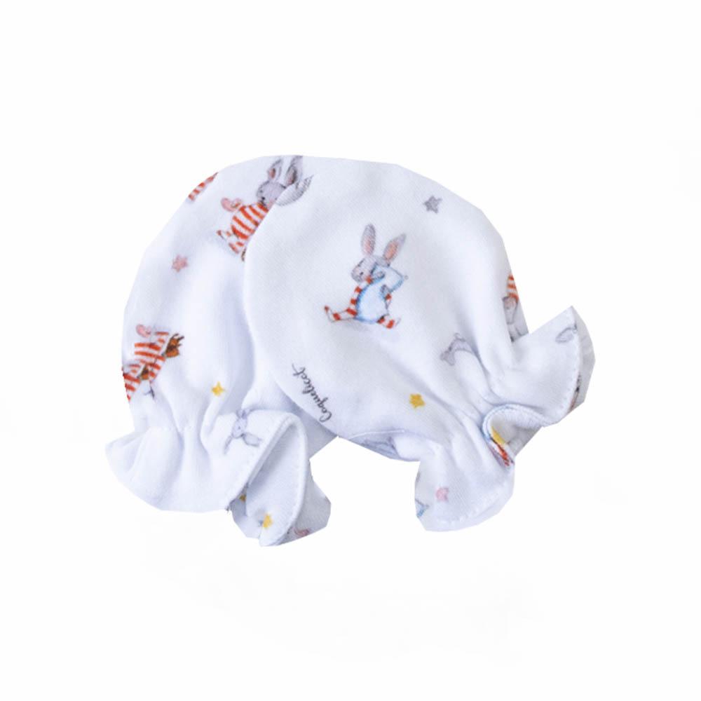 Kit touca e luva em suedine coelhinho - Branco e azul bebê