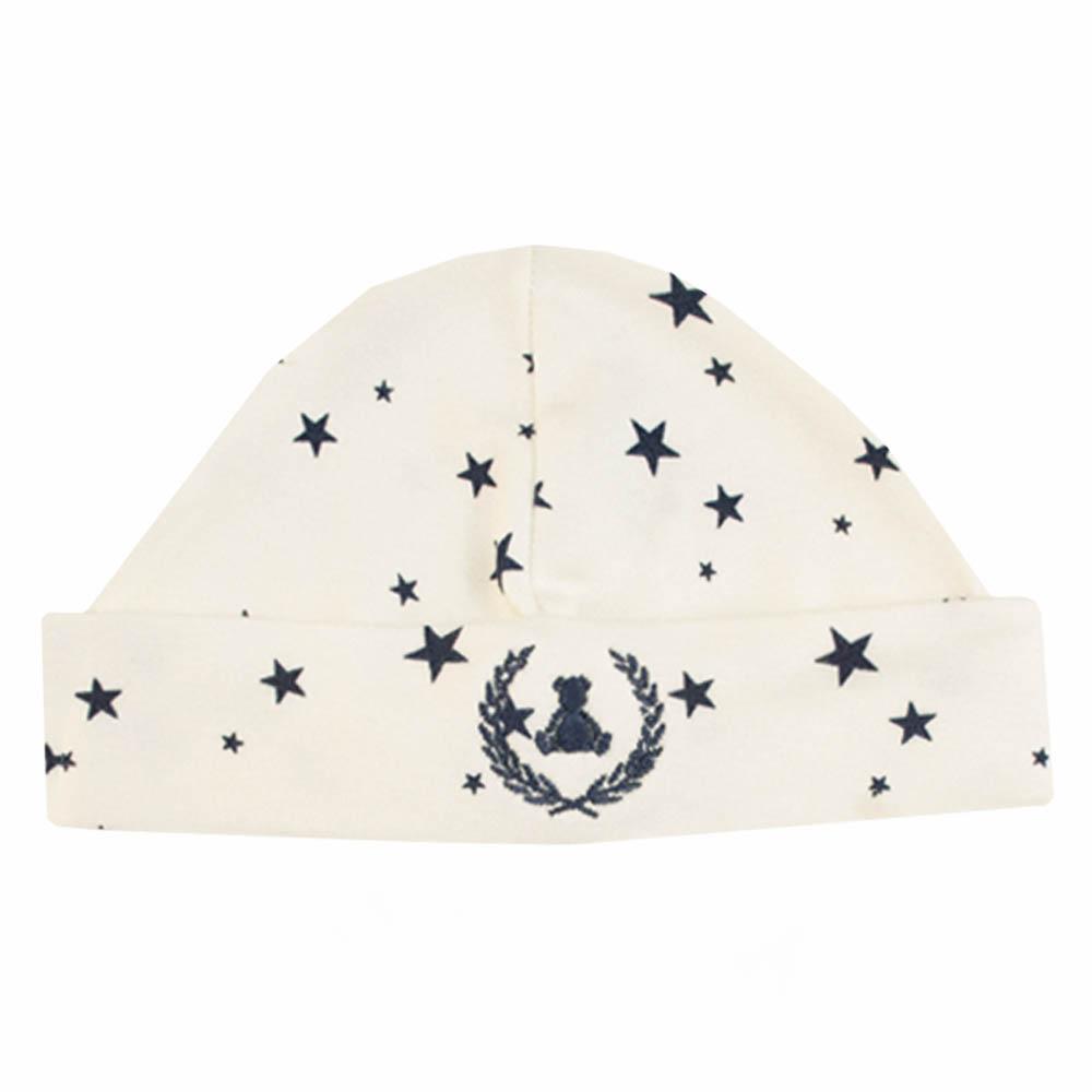 Kit touca e luva em suedine estrela - Off white e azul marinho
