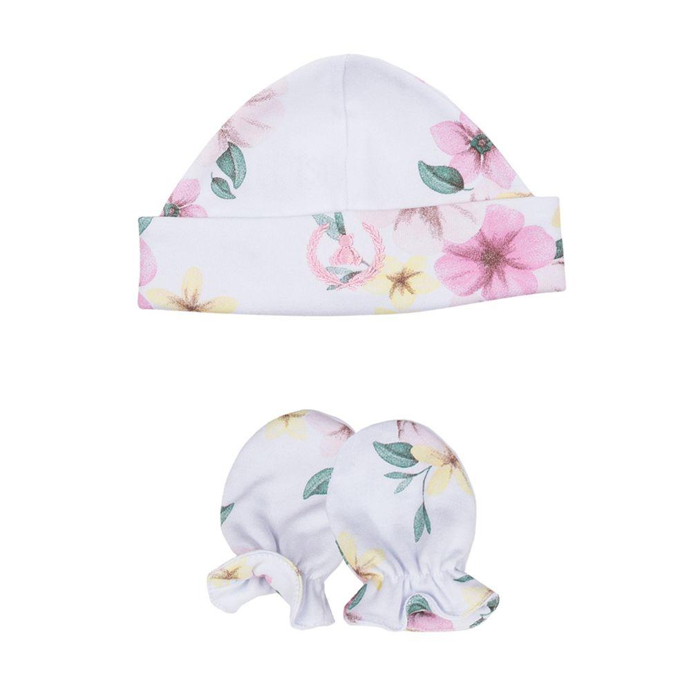 Kit touca e luva em suedine floral - Branco e rosa