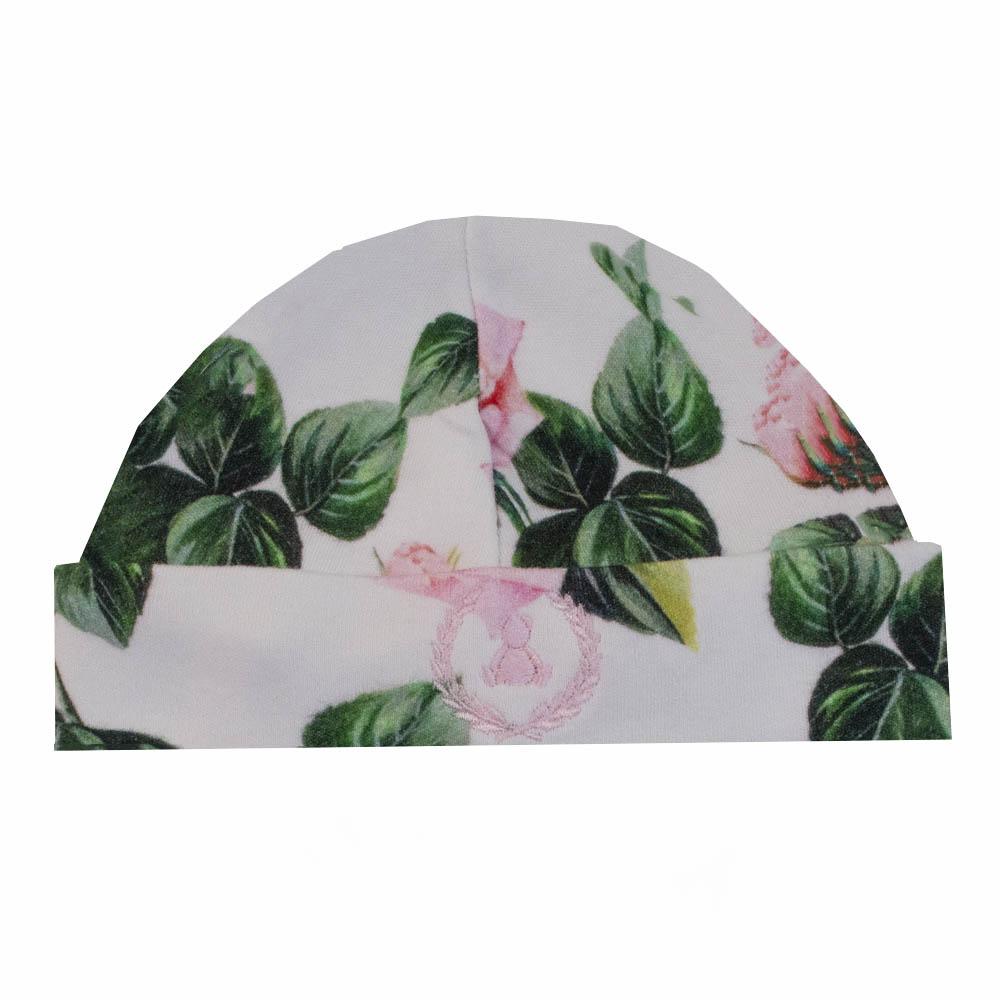 Kit touca e luva em suedine floral - Branco e verde