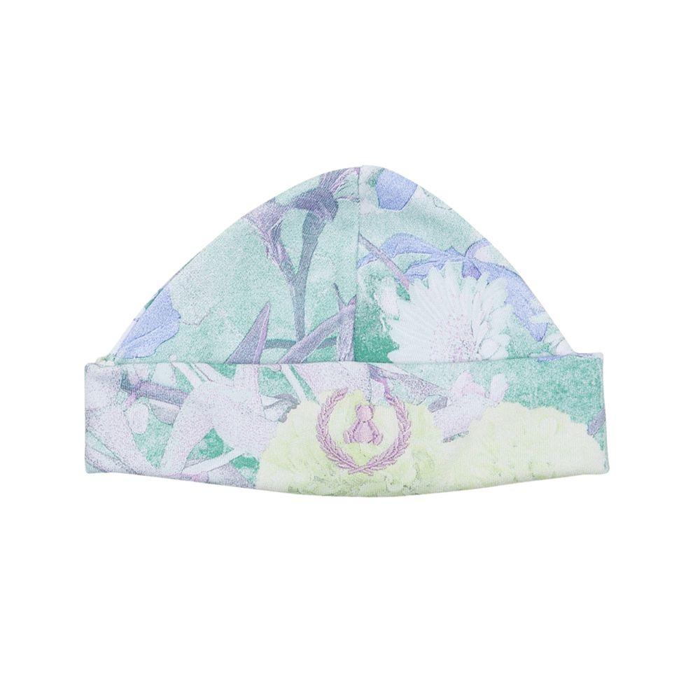 Kit touca e luva em suedine floral - Lilás