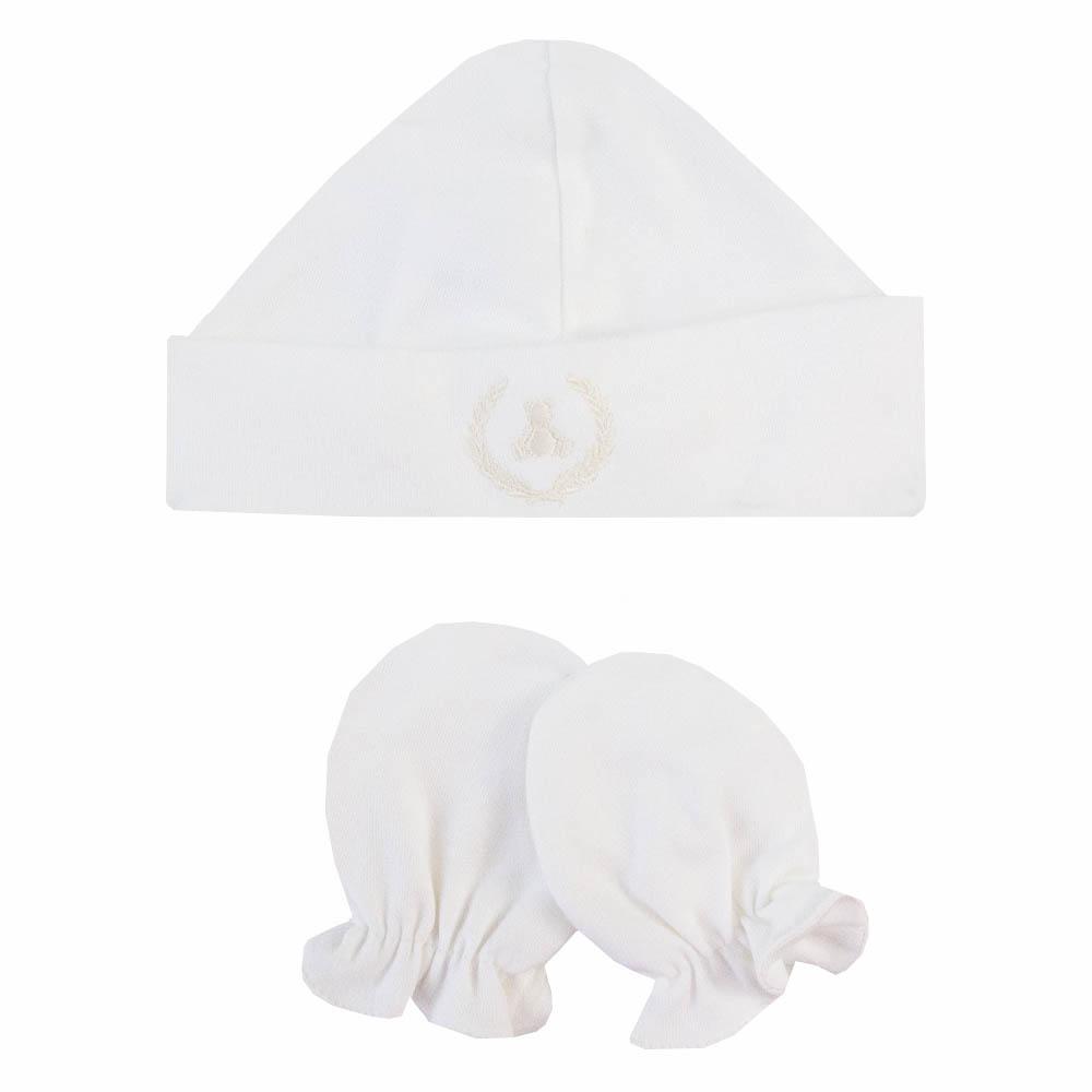 Kit touca e luva em suedine - Off white