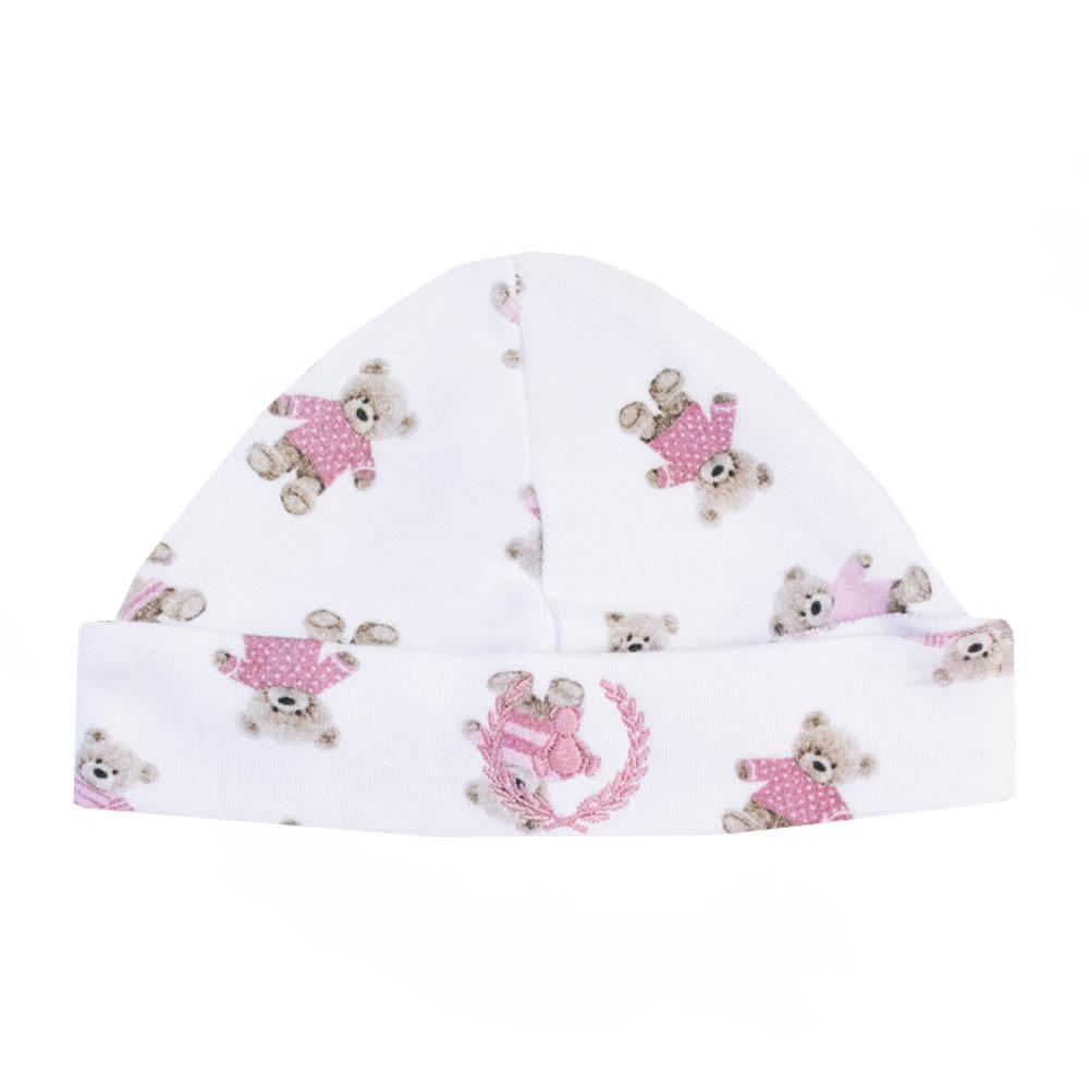 Kit touca e luva em suedine ursinha - Branco e rosa bebê