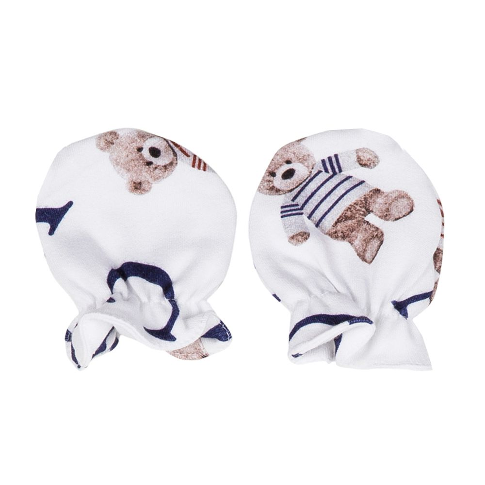 Kit touca e luva em suedine ursinho - Branco e azul marinho
