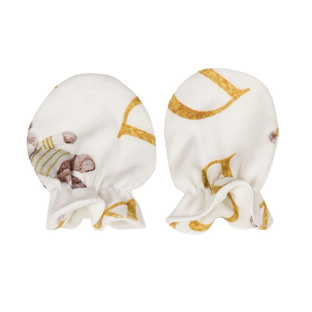 Kit touca e luva em suedine ursinho - Off white e dourado