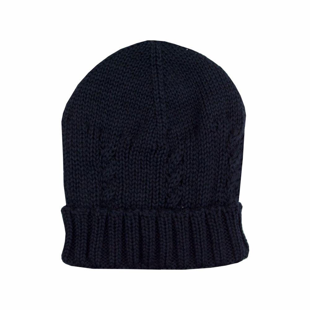 Kit touca e luva em tricot - Azul profundo