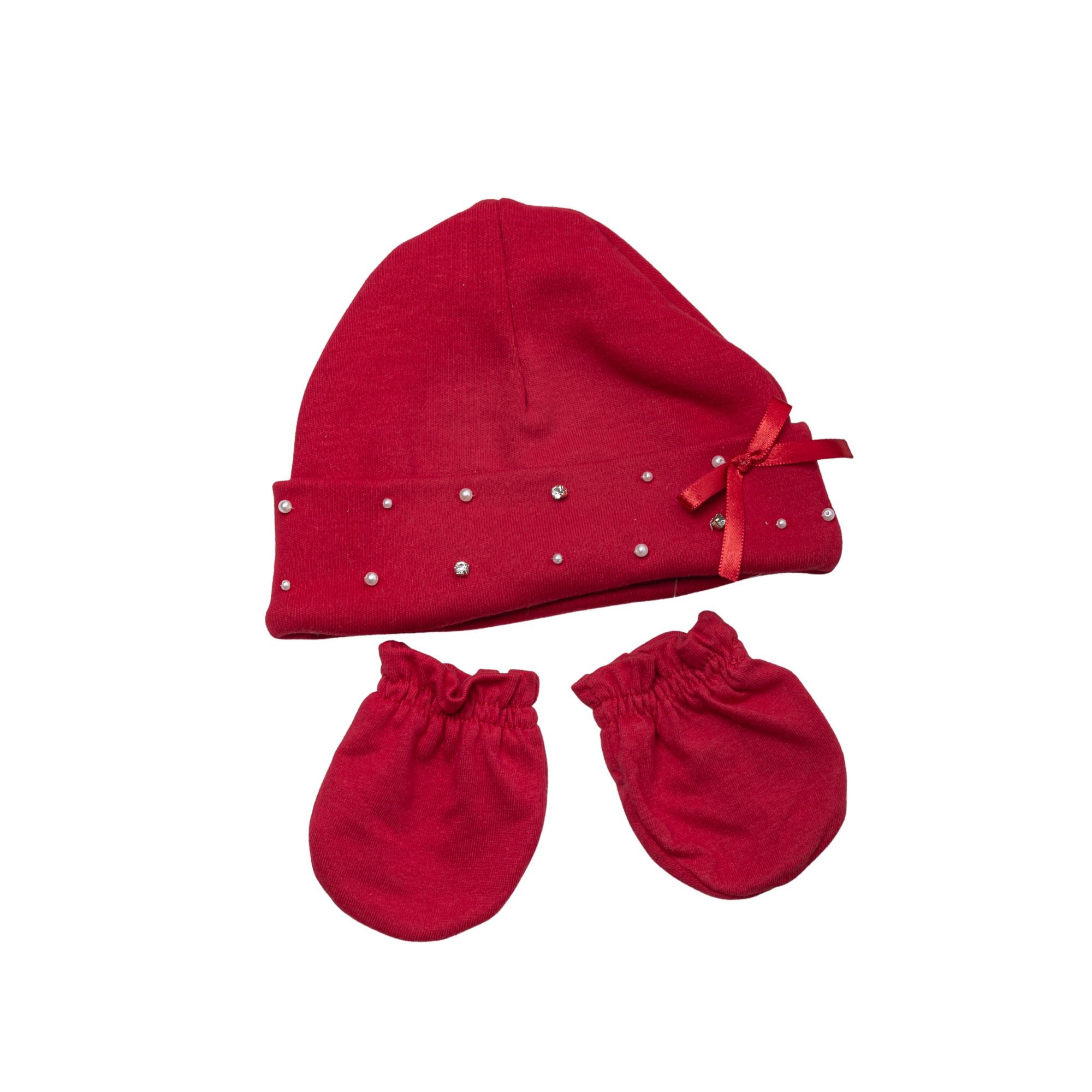 Kit touca e luva suedine pérolas e strass - Vermelho