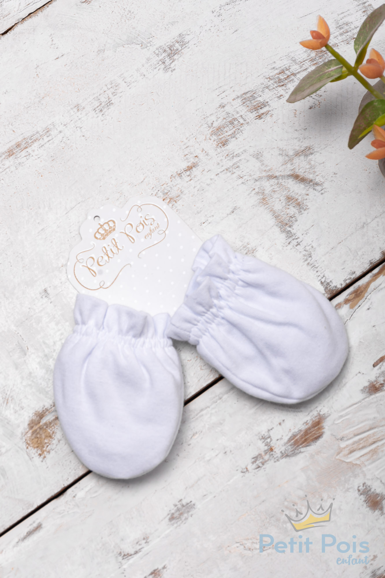 Luva bebê em suedine - Branco