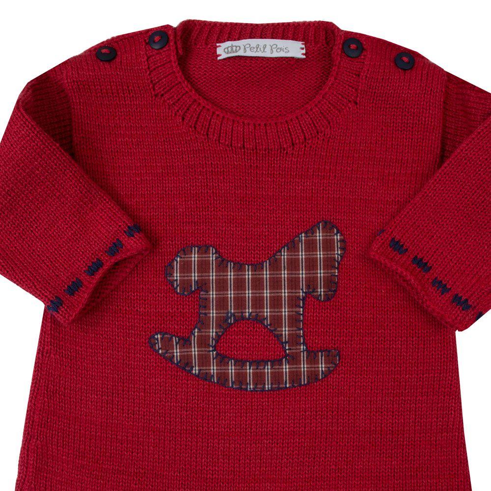 Macacão babê cavalinho - Vermelho