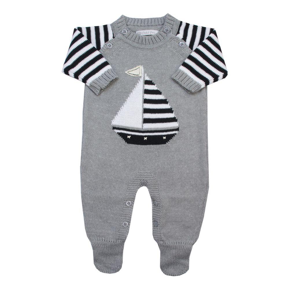 Macacão bebê barquinho - Cinza