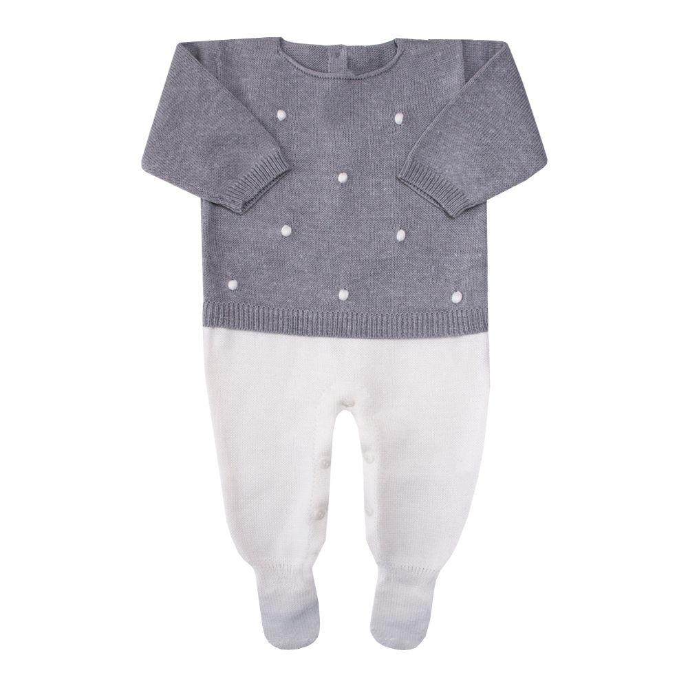 Macacão bebê bolinha 2 cores - Cinza e natural