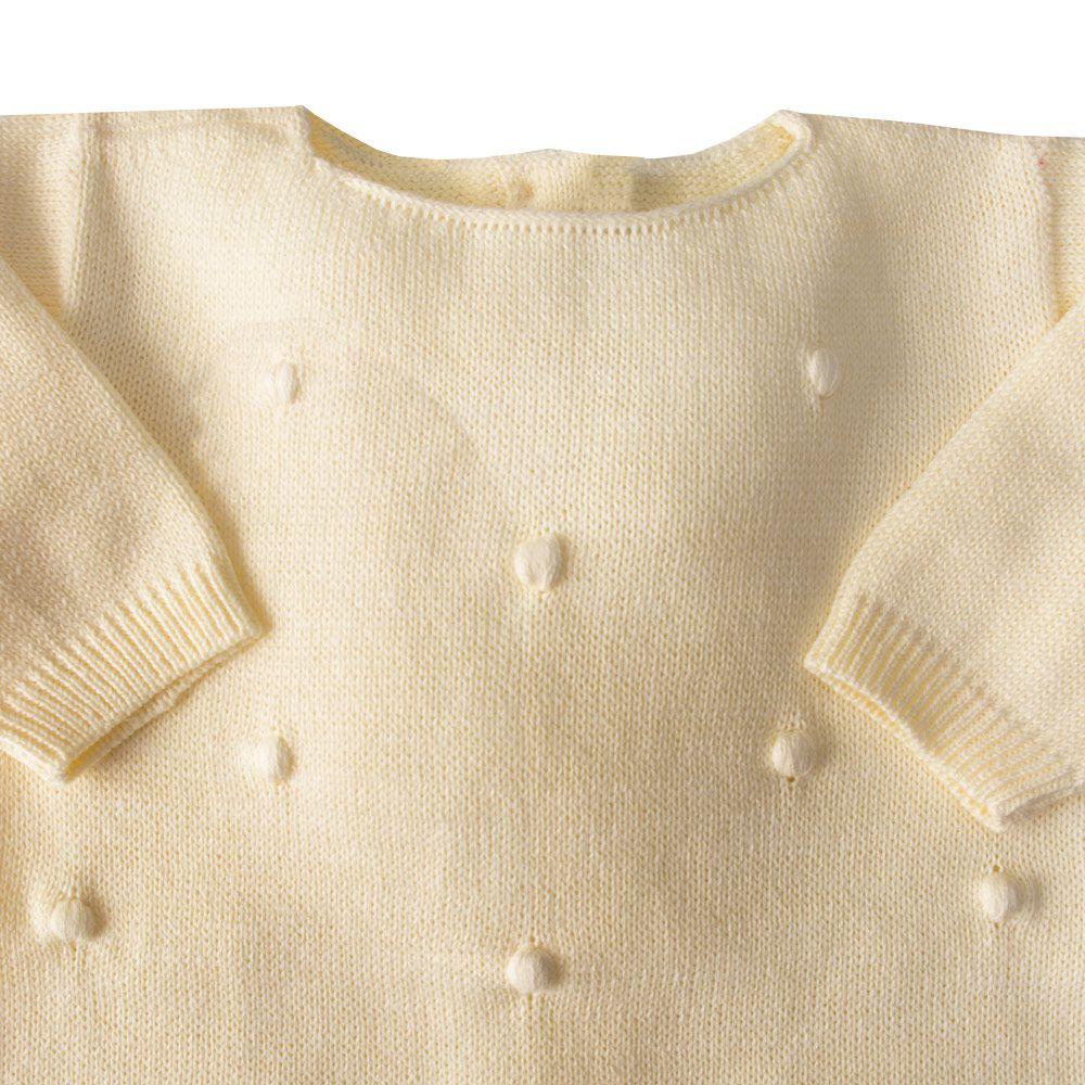 Macacão bebê bolinha bordada - Amarelo bebê