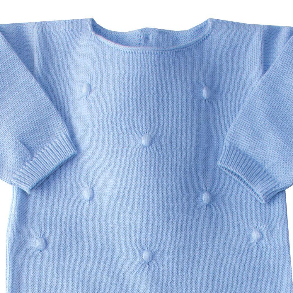Macacão bebê bolinha bordada - Azul bebê