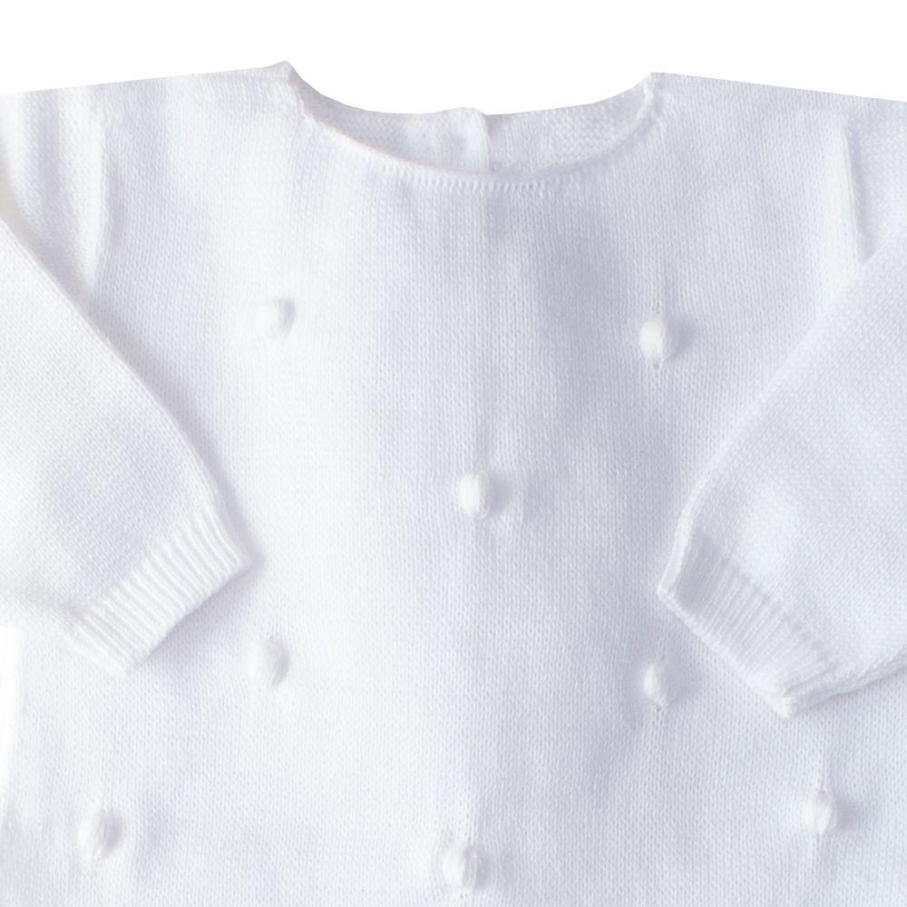 Macacão bebê bolinha bordada - Branco