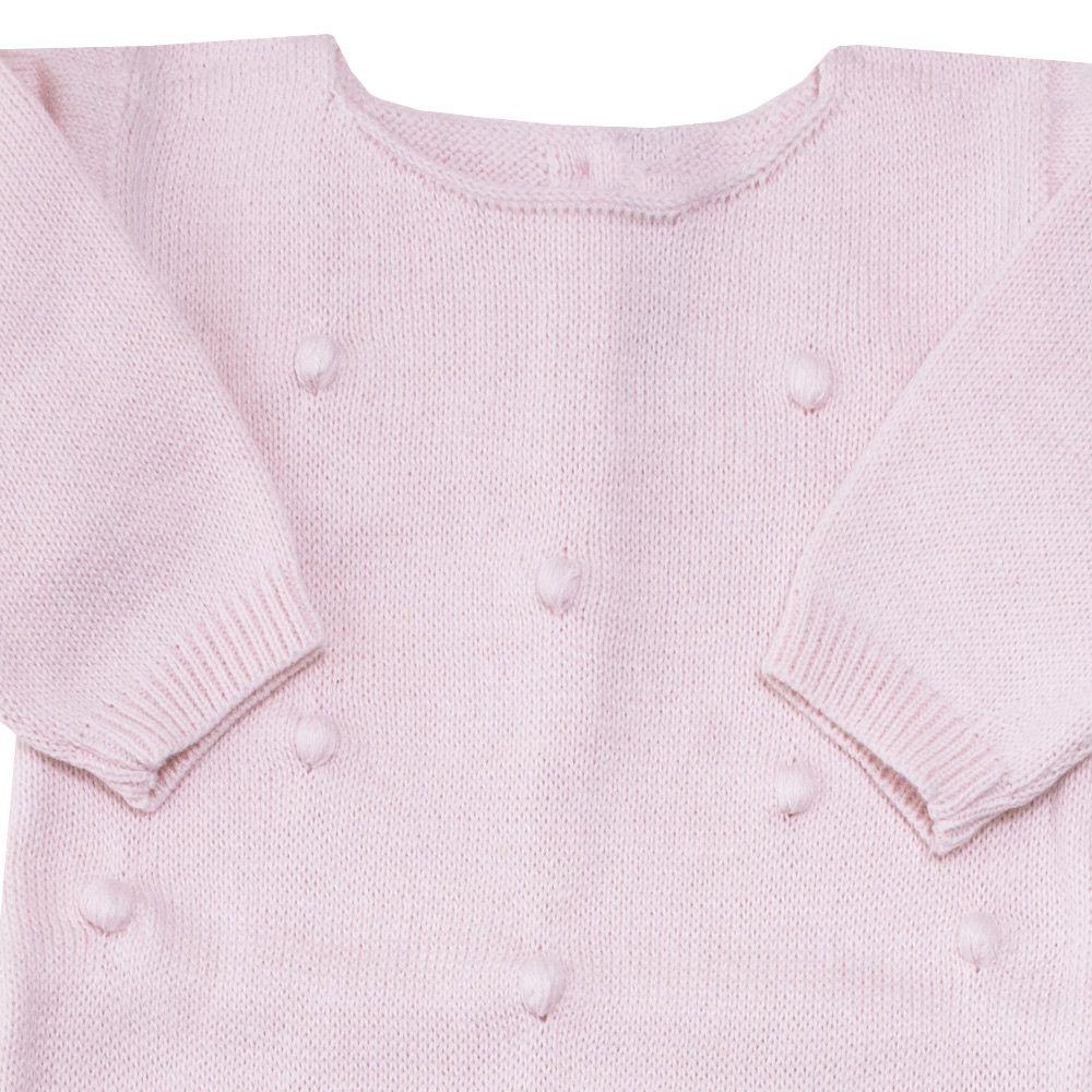Macacão bebê bolinha bordada - Rosa bebê