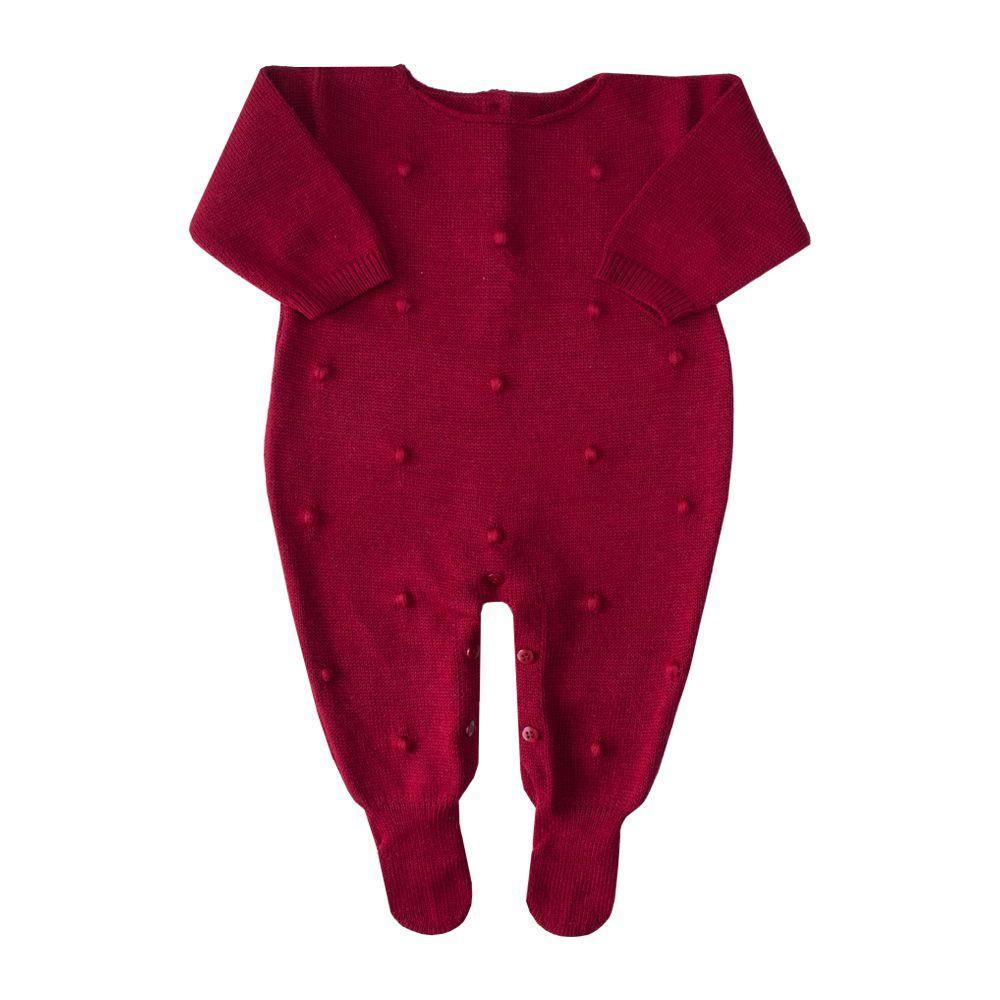 Macacão bebê bolinha bordada - Vermelho