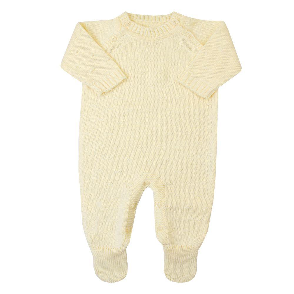 Macacão bebê bolinha nervura - Amarelo bebê