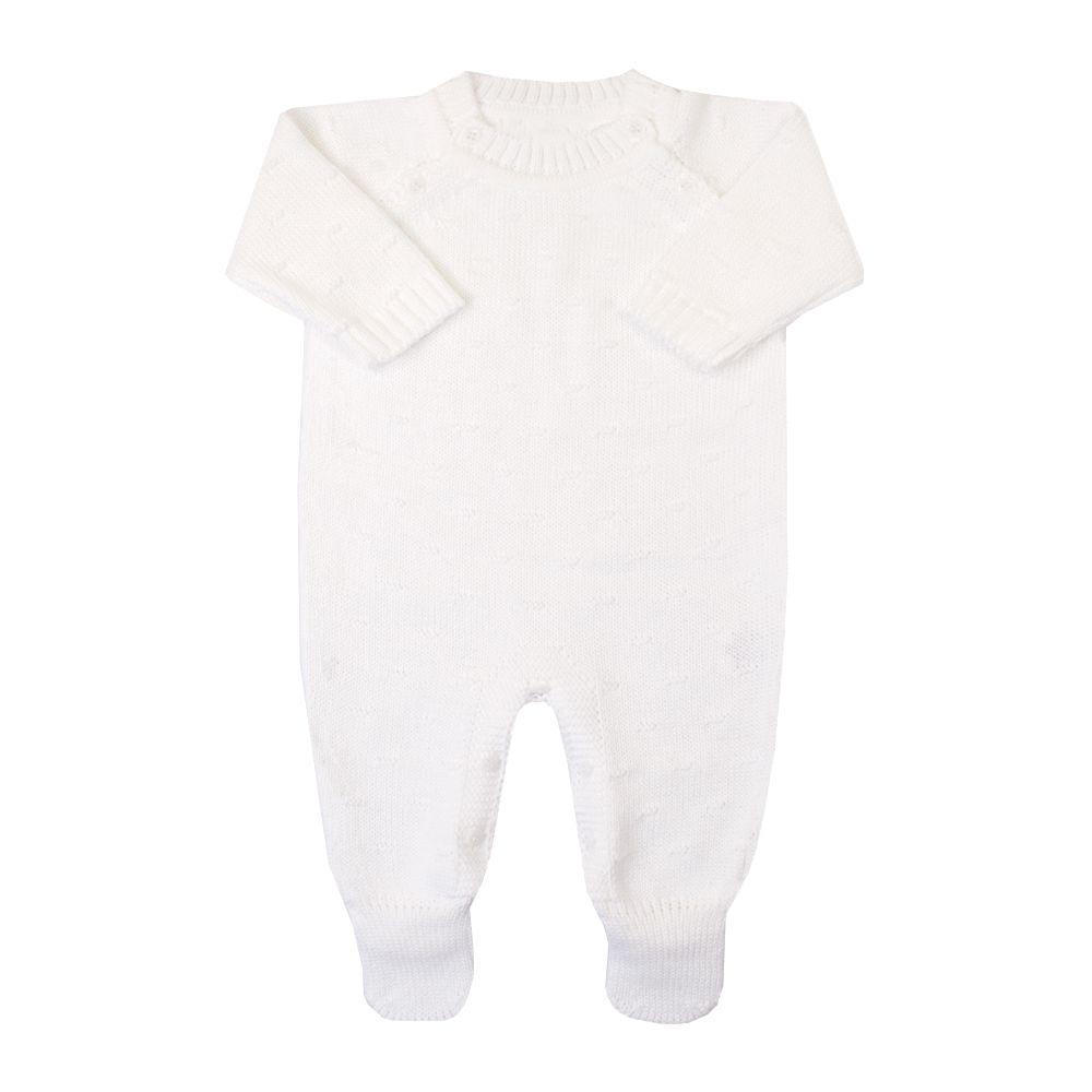 Macacão bebê bolinha nervura - Branco