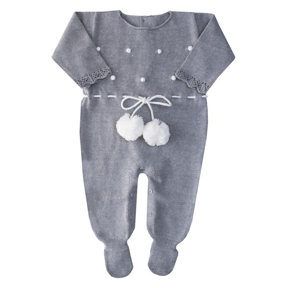 Macacão bebê bolinha pompom - Cinza