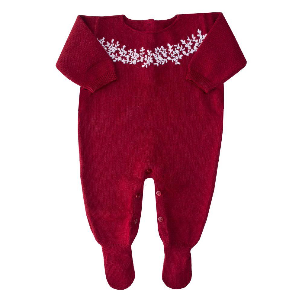 Macacão bebê bordado com pérolas - Vermelho