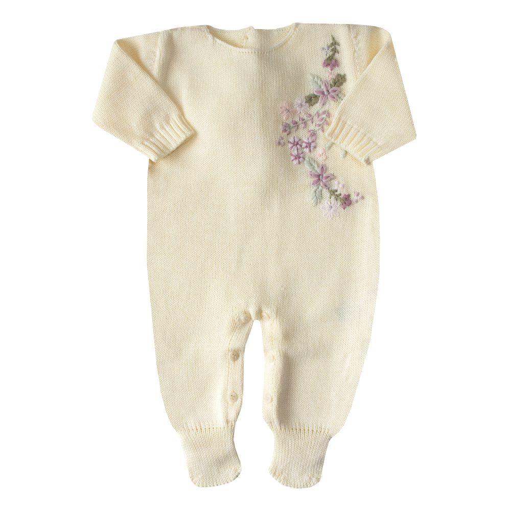 Macacão bebê bordado lateral - Amarelo bebê