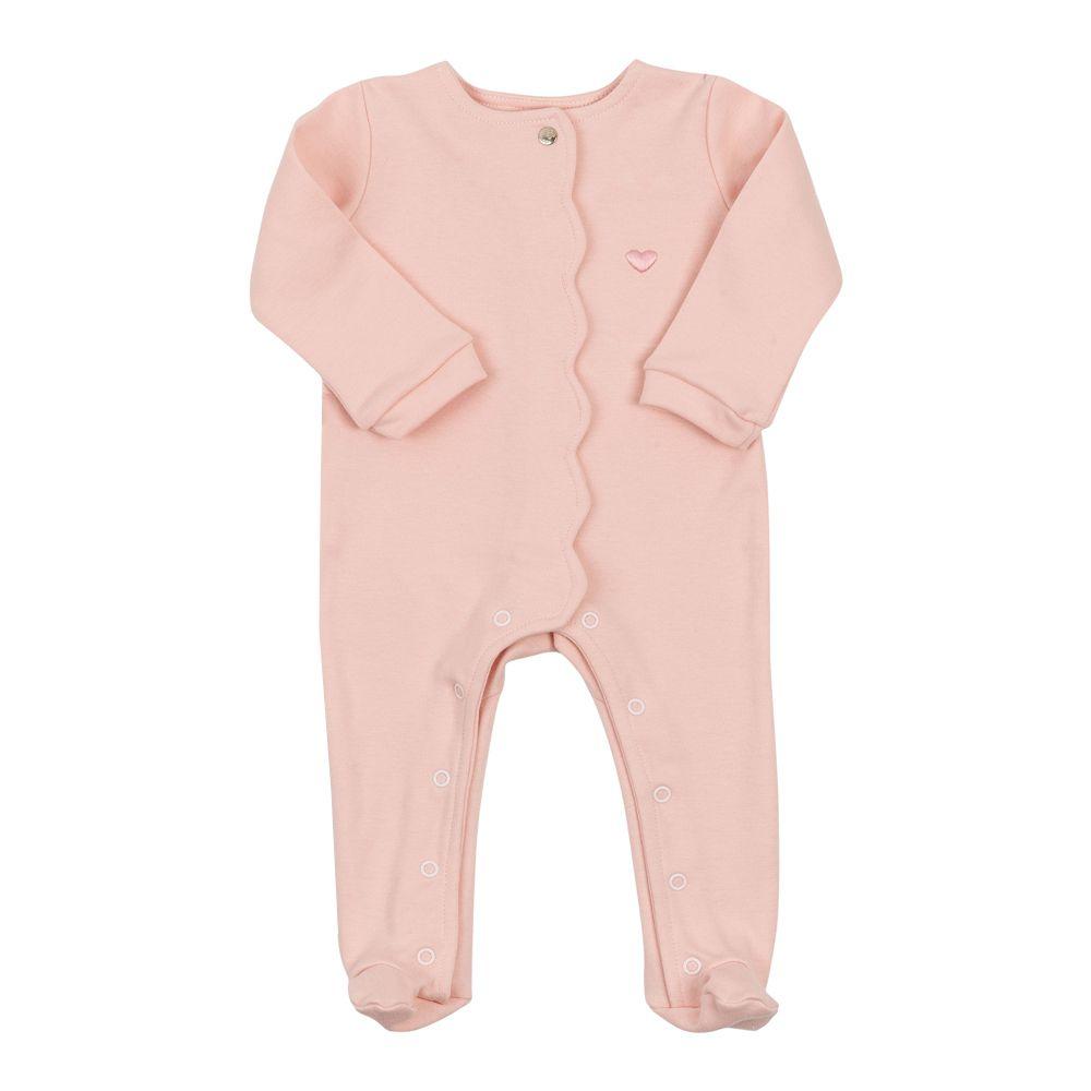 Macacão bebê botão embutido - Rosa bebê