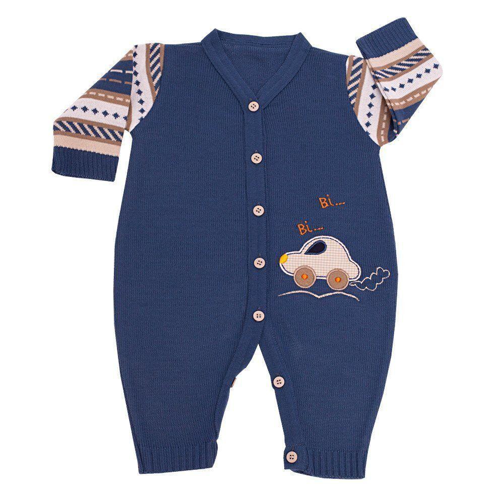 Macacão bebê carrinho em tricot - Azul jeans