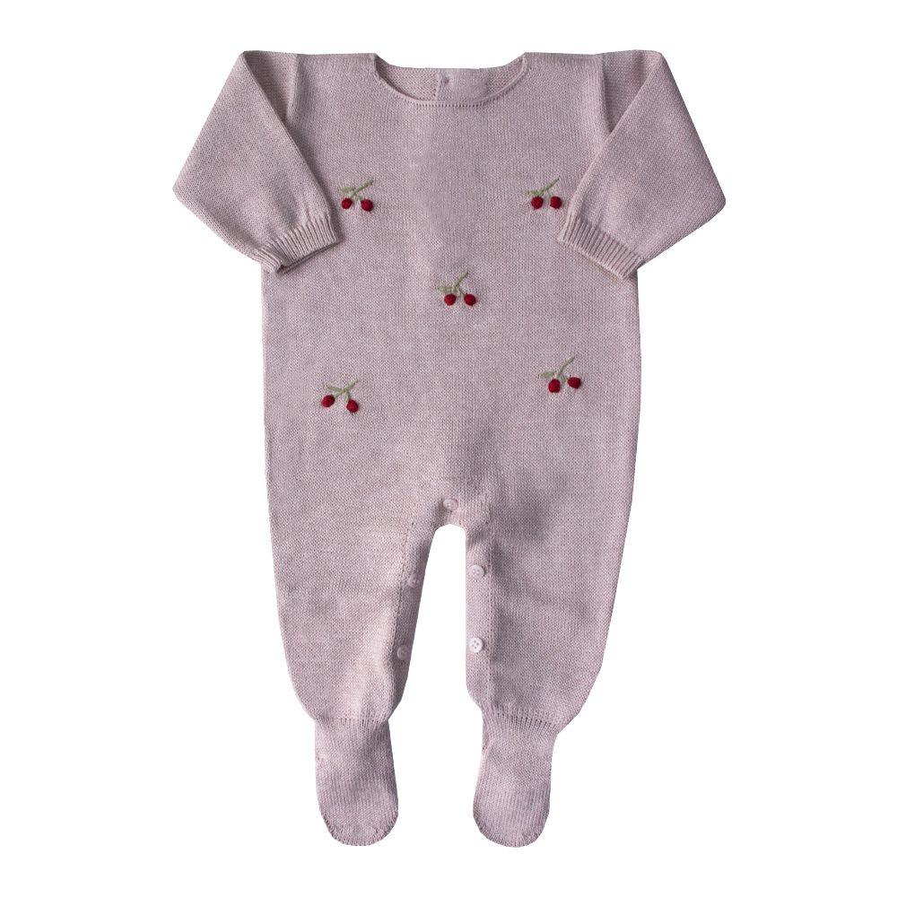 Macacão bebê cereja - Rosa pó