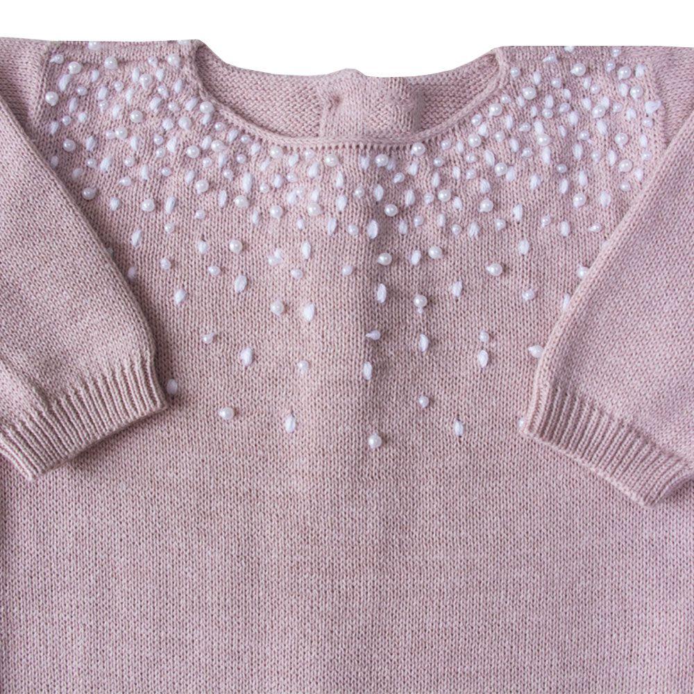 Macacão bebê chuva de prata - Rosa pó