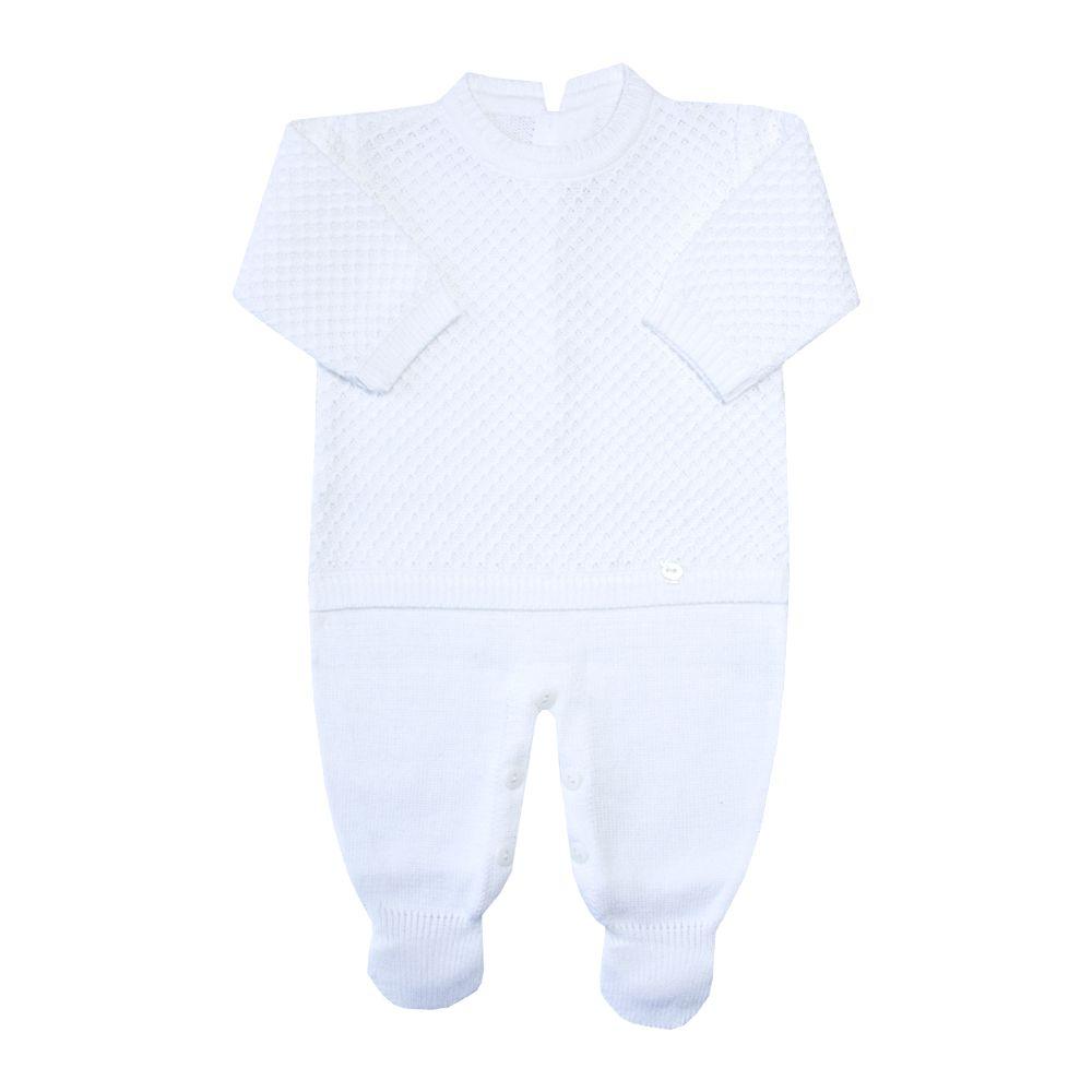 Macacão bebê colmeia - Branco
