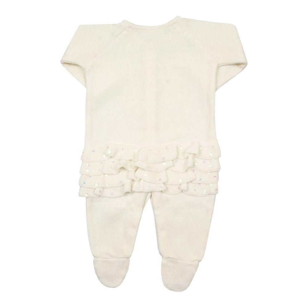 Macacão bebê com babados - Marfim