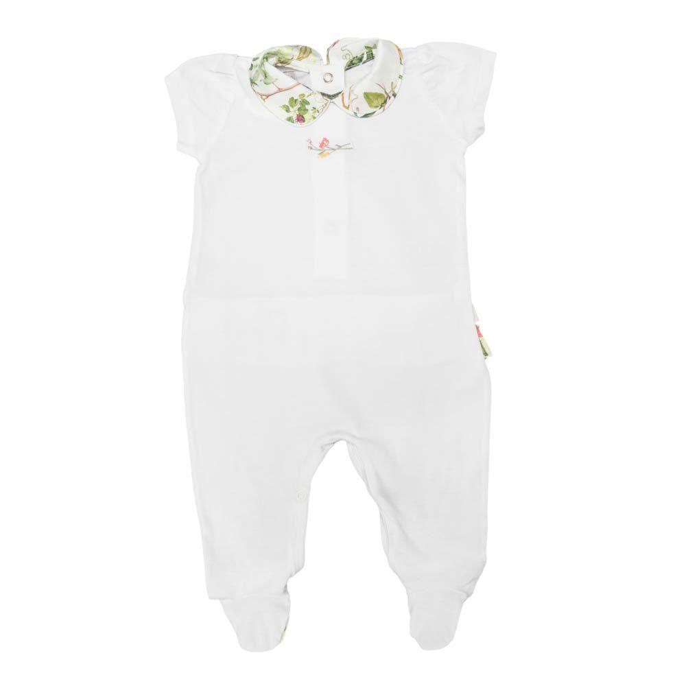 Macacão bebê com pé - Branco