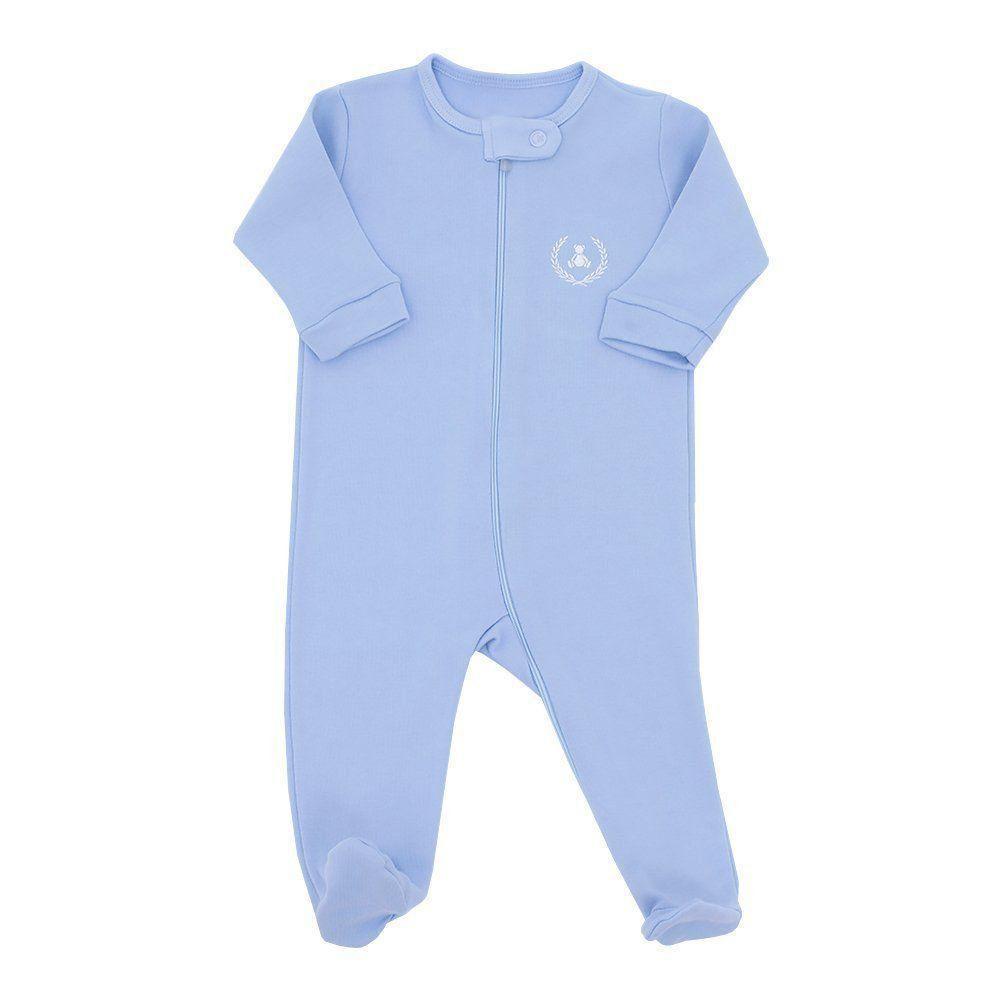 Macacão bebê com zíper - Azul bebê