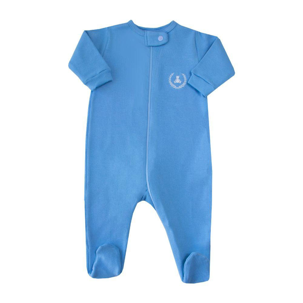 Macacão bebê com zíper - Azul celeste
