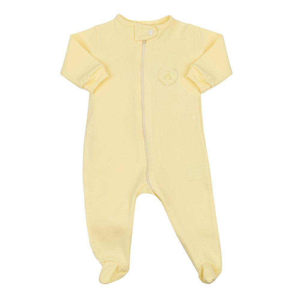 Macacão bebê com zíper e pé - Amarelo bebê