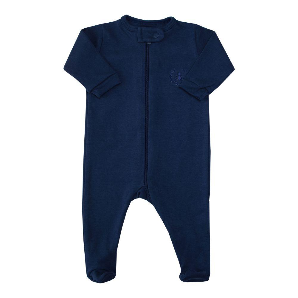 Macacão bebê com zíper e pé - Azul marinho
