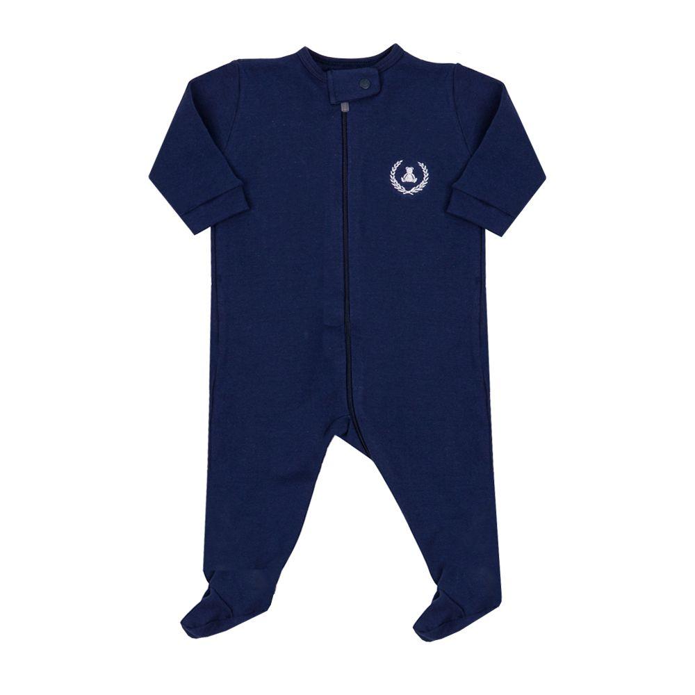 Macacão bebê com zíper e pé - Azul naval