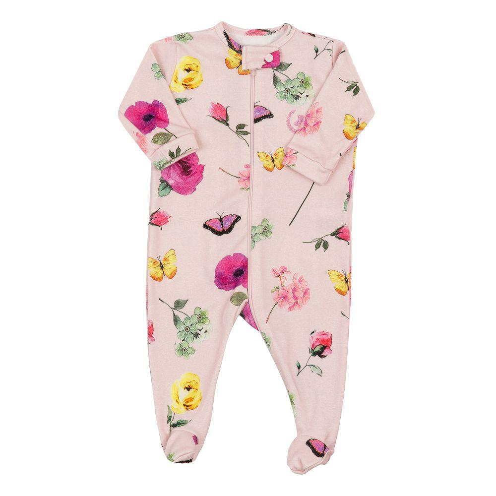Macacão bebê com zíper e pé floral com borboleta - Rosa