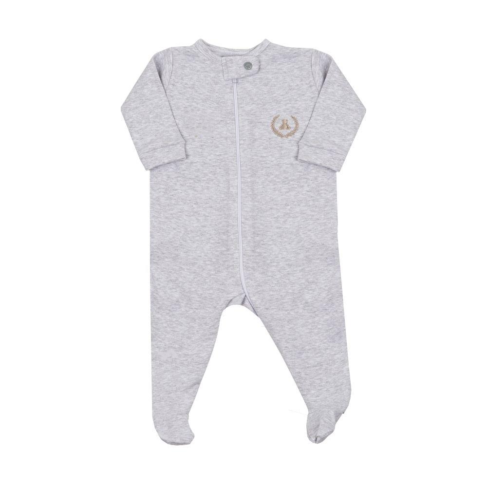 Macacão bebê com zíper e pé - Cinza claro