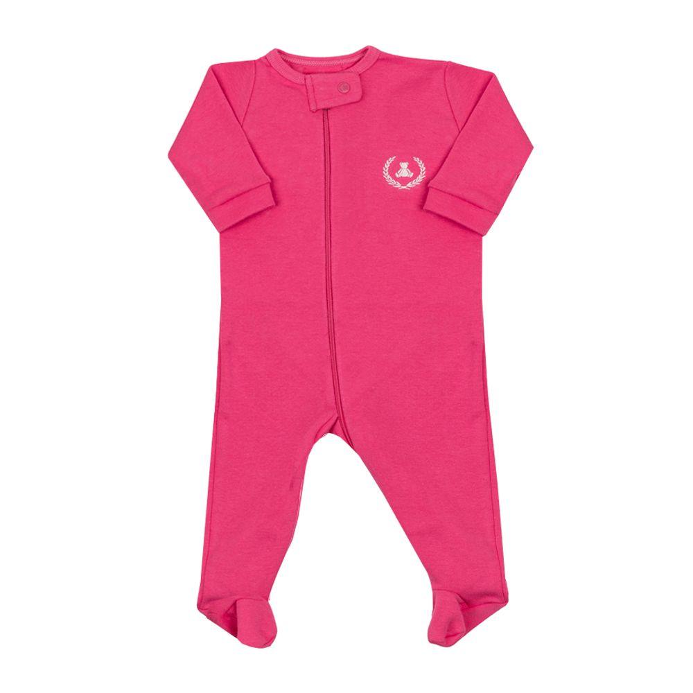 Macacão bebê com zíper e pé - Pink