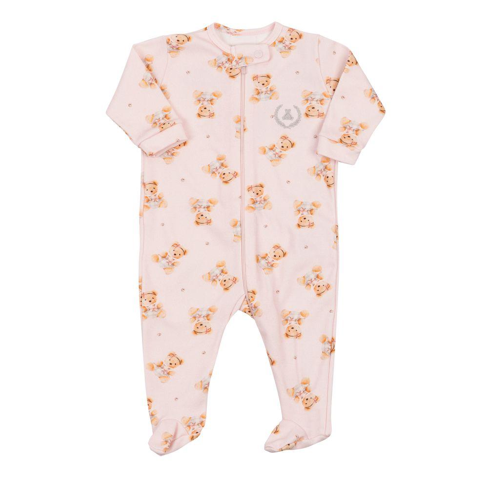 Macacão bebê com zíper e pé ursinha - Rosa