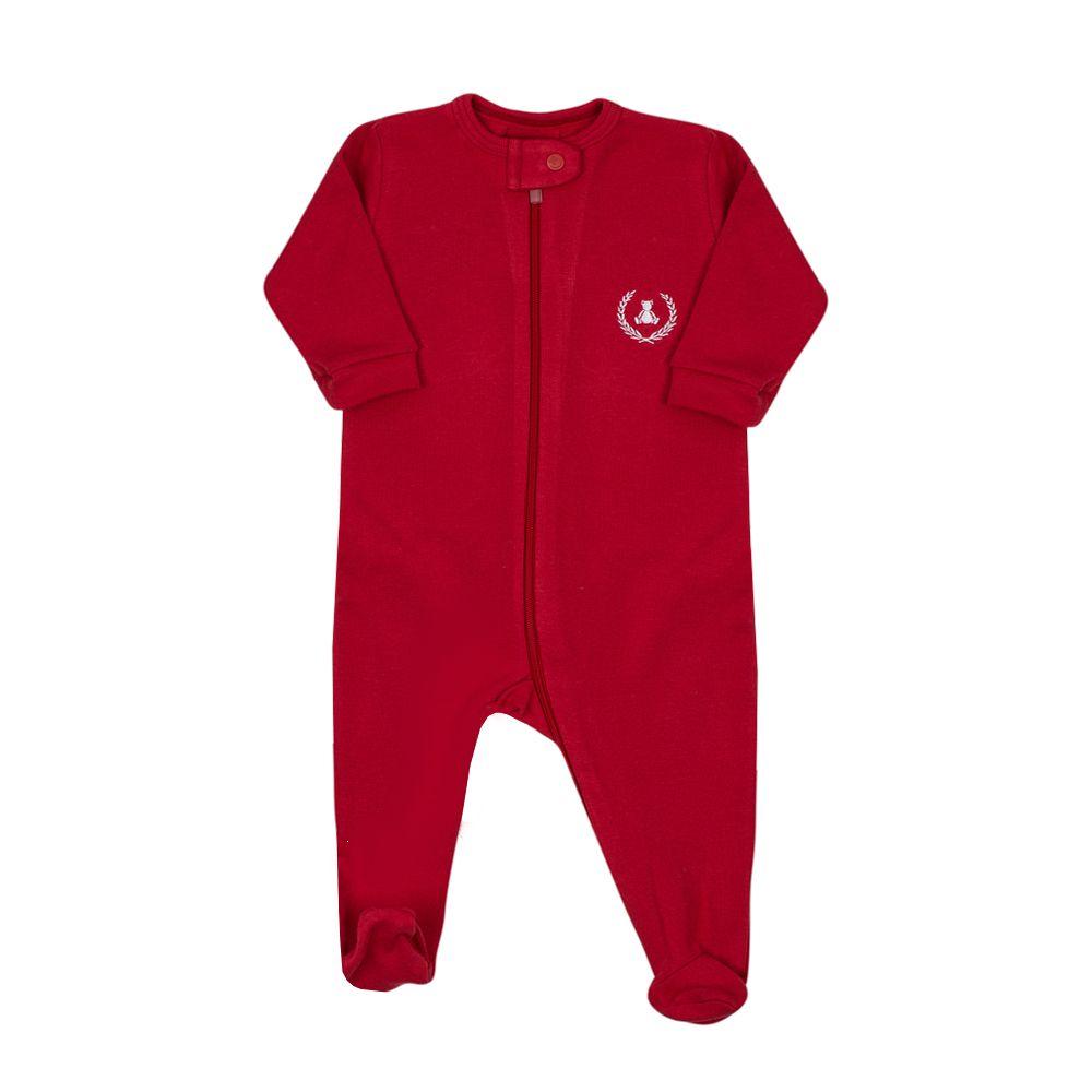 Macacão bebê com ziper e pé - Vermelho e branco