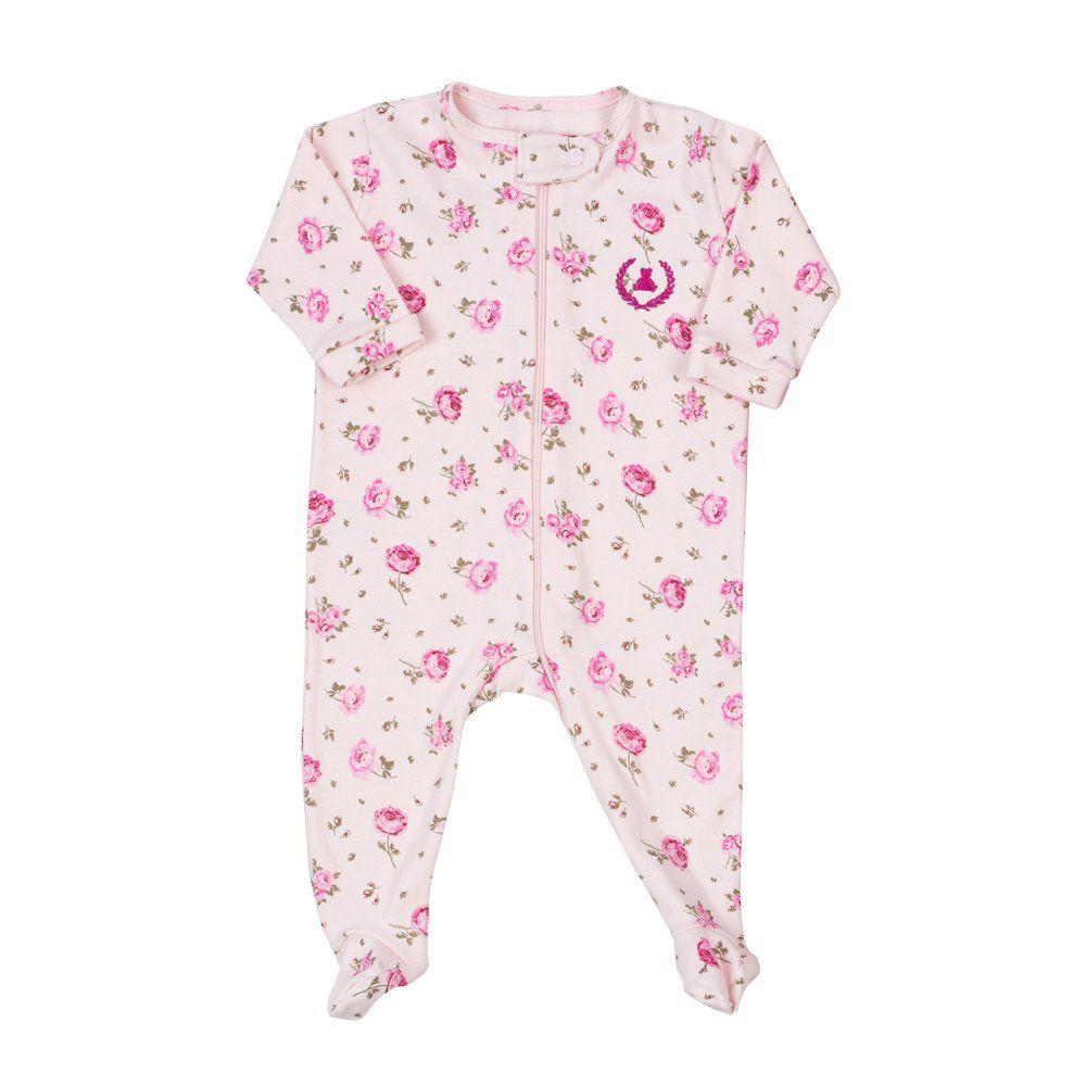 Macacão bebê com zíper floral - Rosa bebê