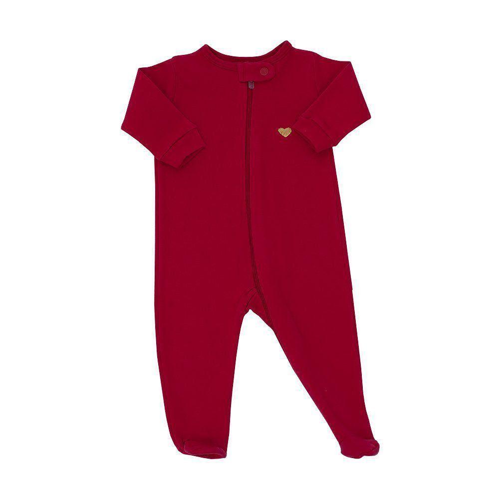 Macacão bebê com zíper - Vermelho