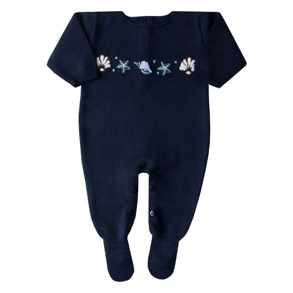 Macacão bebê concha - Azul profundo