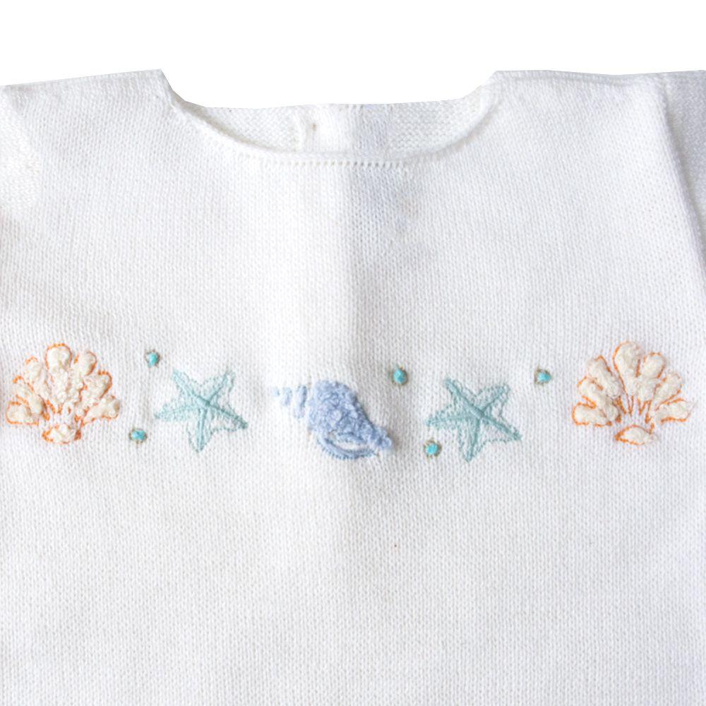 Macacão bebê conha - Off white