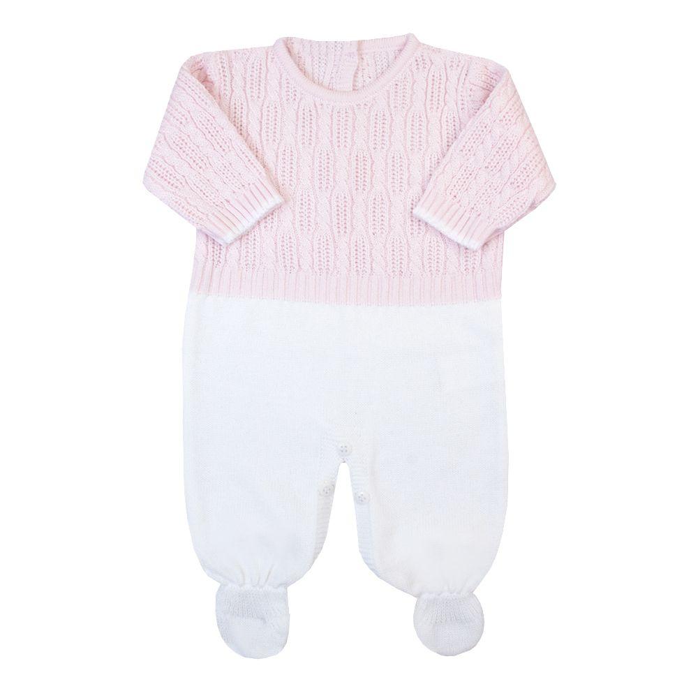 Macacão bebê corda - Rosa pó e branco