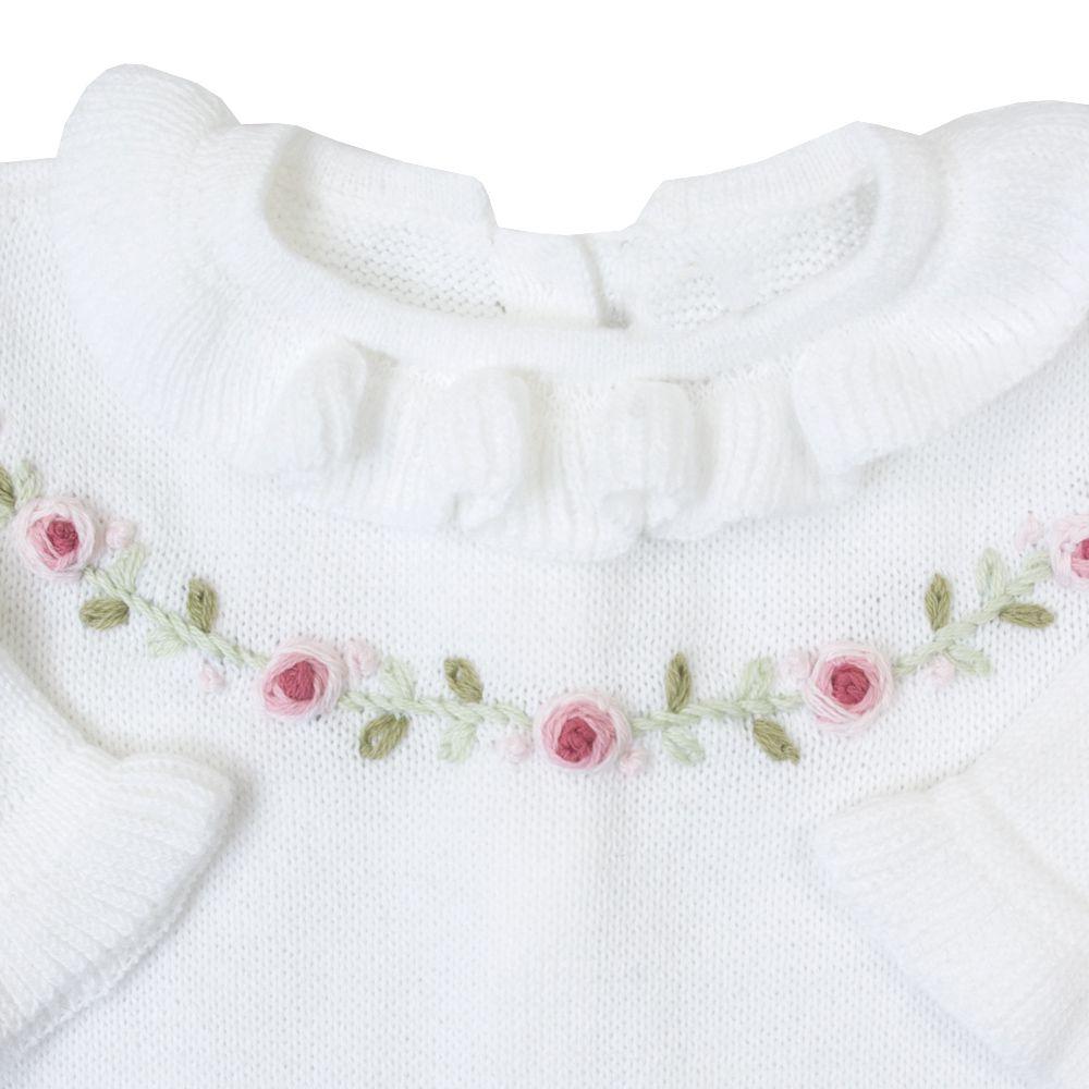 Macacão bebê cordão flores - Branco