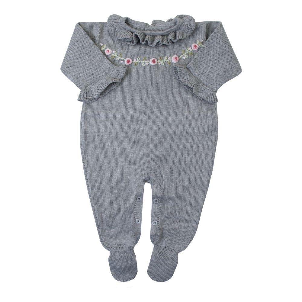 Macacão bebê cordão flores - Cinza