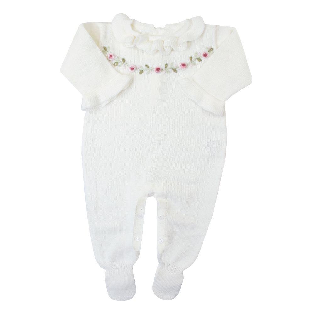 Macacão bebê cordão flores - Off white